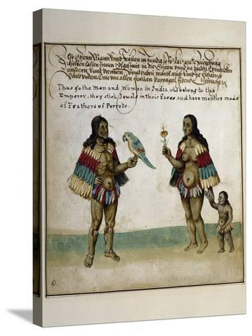 Indian Inhabitants, Watercolor Print, Newport, 1712--Stretched Canvas Print