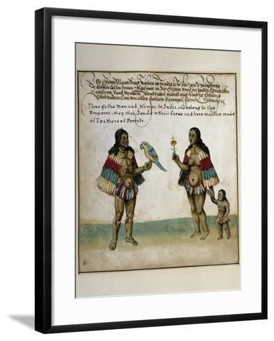 Indian Inhabitants, Watercolor Print, Newport, 1712--Framed Art Print