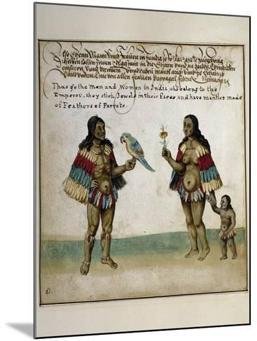Indian Inhabitants, Watercolor Print, Newport, 1712--Mounted Giclee Print