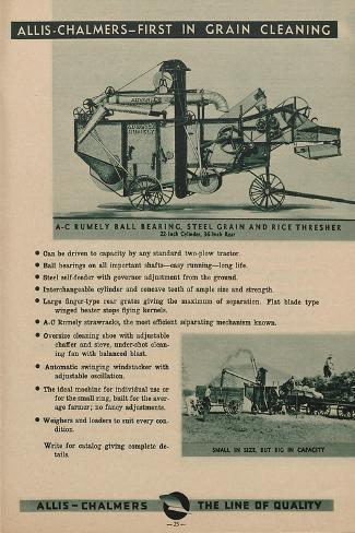 Allis Chalmers Rumely Ball Bearing, Steel Grain and Rice Thresher--Stretched Canvas Print