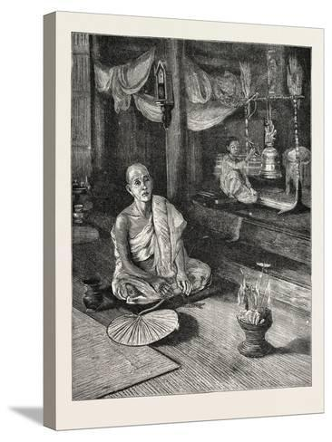 A Call to Worship (Interior of Buddhist Monastery)--Stretched Canvas Print