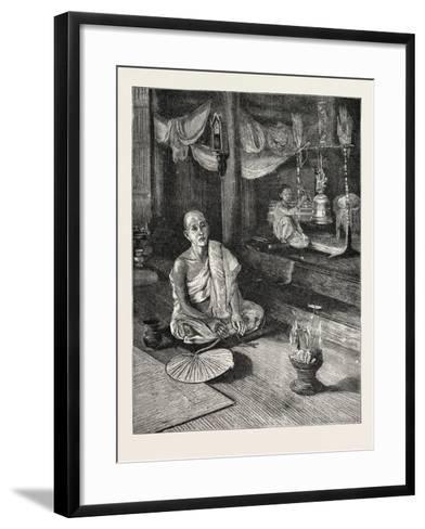 A Call to Worship (Interior of Buddhist Monastery)--Framed Art Print