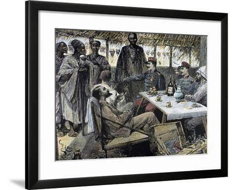 Head of an African Tribe Interviewing with the French--Framed Art Print