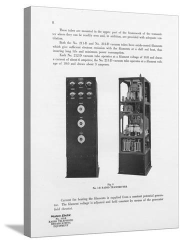 Western Electric Company's Number 1-B Radio Transmitter--Stretched Canvas Print
