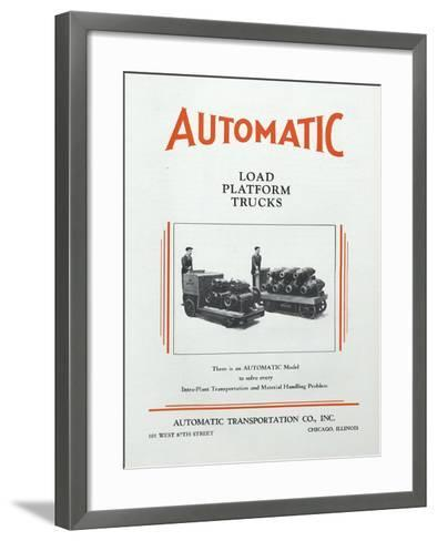 Automatic Transportation Company's Load Platform Trucks--Framed Art Print