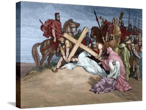 Jesus Reaches the Top of Calvary, 19th Century--Stretched Canvas Print