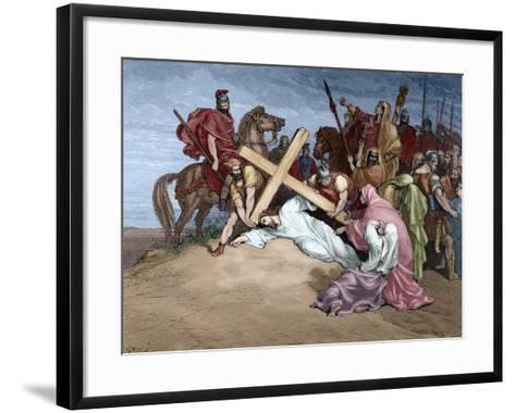 Jesus Reaches the Top of Calvary, 19th Century--Framed Art Print
