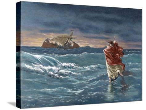 Jesus Walks on the Water of the Sea of Galilee--Stretched Canvas Print