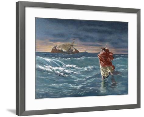 Jesus Walks on the Water of the Sea of Galilee--Framed Art Print