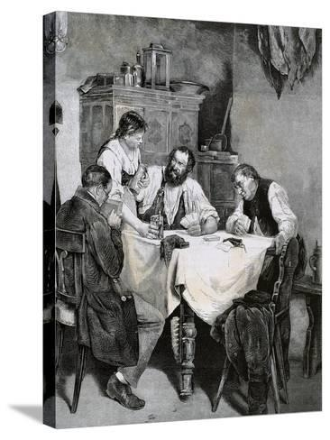 Society, Working Family Playing Cards at Home. L. Rulf, 1887--Stretched Canvas Print