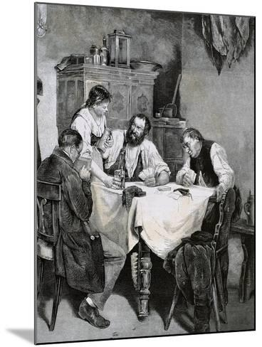 Society, Working Family Playing Cards at Home. L. Rulf, 1887--Mounted Giclee Print