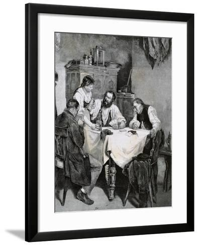 Society, Working Family Playing Cards at Home. L. Rulf, 1887--Framed Art Print