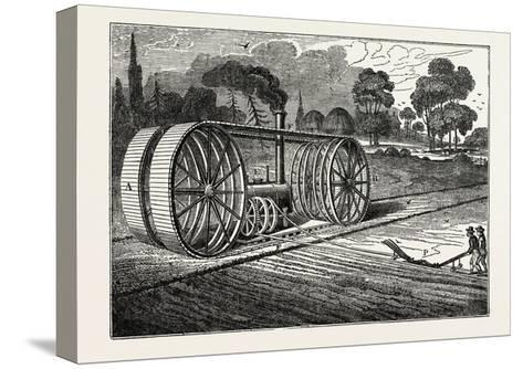 Mr. Heathcoat's Steam Plough--Stretched Canvas Print