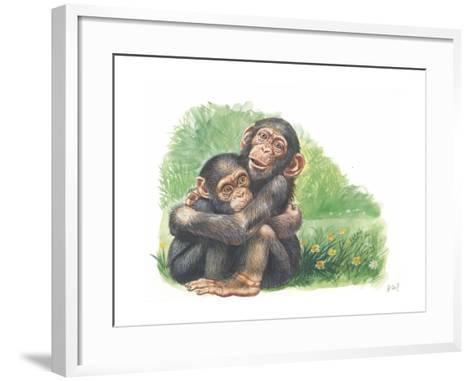 Young Chimpanzees Pan Troglodytes Playing--Framed Art Print