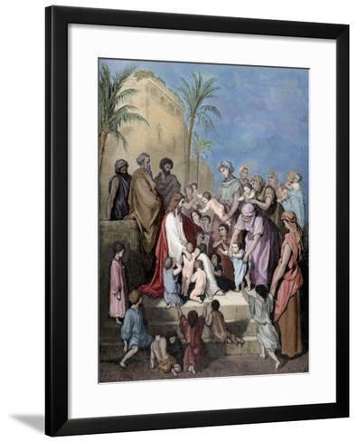 Jesus Blessing the Children--Framed Art Print