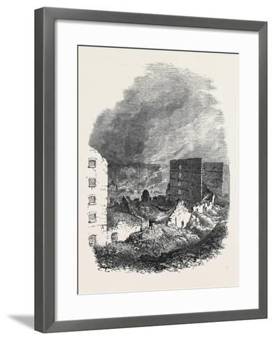 The Ruins of Cotton's Wharf the Great Fire in Southwark July6 1861--Framed Art Print