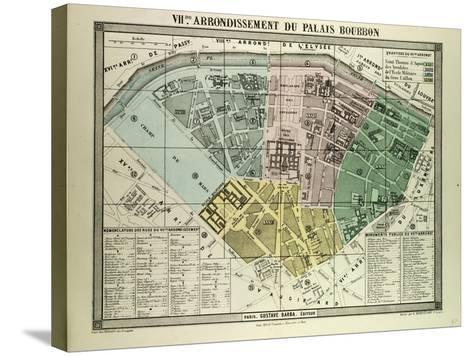 Map of the 7th Arrondissement Du Palais Bourbon Paris France--Stretched Canvas Print