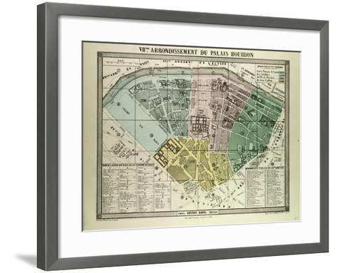 Map of the 7th Arrondissement Du Palais Bourbon Paris France--Framed Art Print