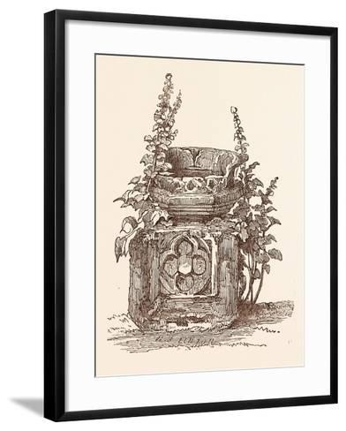 Ancient Font at Stratford-Upon-Avon, Stratford Upon Avon, UK--Framed Art Print