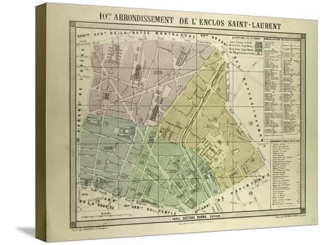 Map of the 10th Arrondissement De L'Enclos Saint-Laurent Paris France--Stretched Canvas Print