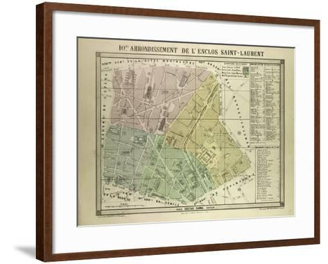 Map of the 10th Arrondissement De L'Enclos Saint-Laurent Paris France--Framed Art Print