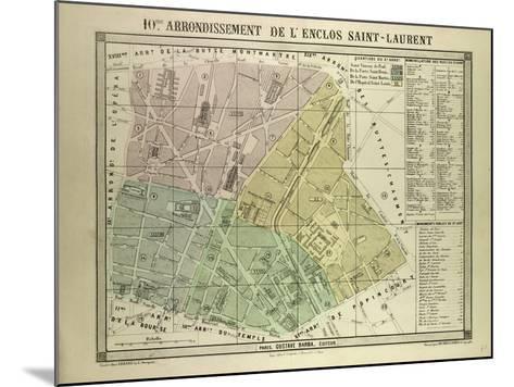Map of the 10th Arrondissement De L'Enclos Saint-Laurent Paris France--Mounted Giclee Print