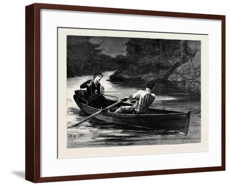 Kit, a Memory; She Took the Rudder-Lines, While Frank Seized the Oars--Framed Art Print
