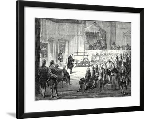 Abbot Nollet's Lectures on Physics at the College of Navarre in 1754--Framed Art Print