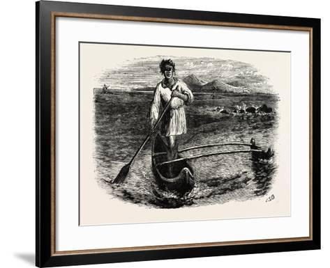 Our Boatman at Tahiti, French Polynesia, Southern Pacific Ocean--Framed Art Print