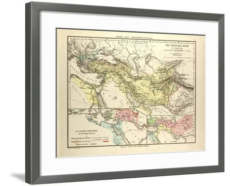 Map of the Persian Empire and the Empire of Alexander the Great--Framed Art Print