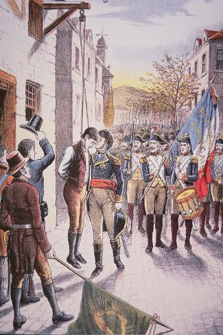 French General Jean Sarrazin Kisses Hanged Irish Rebel Patrick Walsh--Stretched Canvas Print