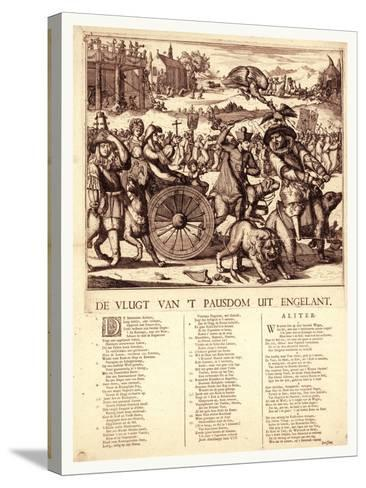 De Vlugt Van 't Pausdom Uit Engelant, Hooghe, Romeyn De, 1645-1708--Stretched Canvas Print