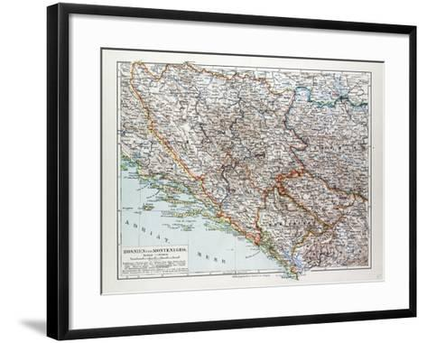 Map of Bosnia and Herzegovina Montenegro Serbia 1899--Framed Art Print