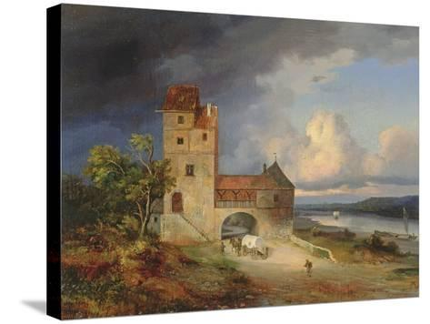 Landscape by the River with the Tower and Gateway, 1844--Stretched Canvas Print