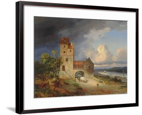 Landscape by the River with the Tower and Gateway, 1844--Framed Art Print