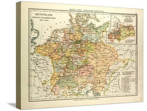 Map of Germany During the Thirty Years' War 1618 - 1648--Stretched Canvas Print