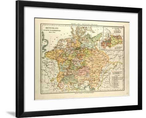 Map of Germany During the Thirty Years' War 1618 - 1648--Framed Art Print