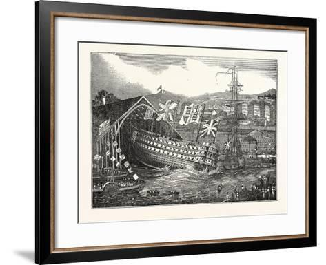 Launch of His Majesty's Ship Waterloo, at Chatham, UK--Framed Art Print