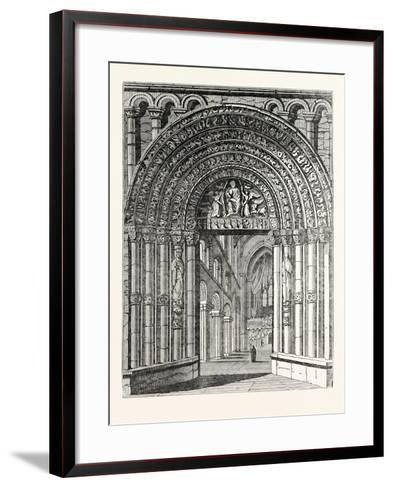 Principal Entrance and Interior of Rochester Cathedral--Framed Art Print
