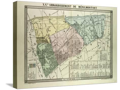 Map of 20th Arrondissement De Ménilmontant Paris France--Stretched Canvas Print
