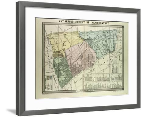 Map of 20th Arrondissement De Ménilmontant Paris France--Framed Art Print