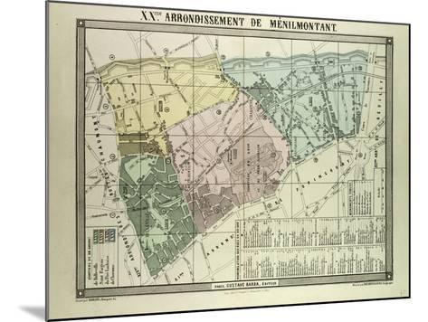 Map of 20th Arrondissement De Ménilmontant Paris France--Mounted Giclee Print