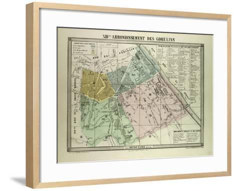 Map of the 13th Arrondissement Des Gobelins Paris France--Framed Art Print