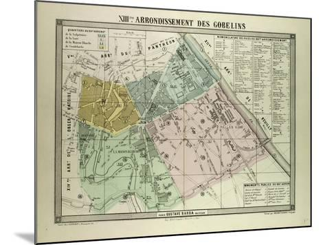 Map of the 13th Arrondissement Des Gobelins Paris France--Mounted Giclee Print
