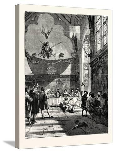Christmas in the Baronial Hall Bringing in the Boar's Head--Stretched Canvas Print