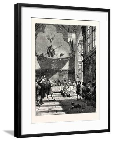 Christmas in the Baronial Hall Bringing in the Boar's Head--Framed Art Print