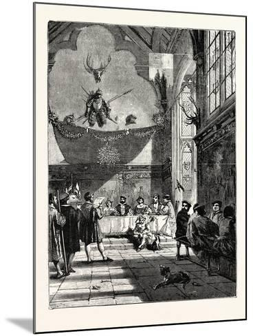 Christmas in the Baronial Hall Bringing in the Boar's Head--Mounted Giclee Print