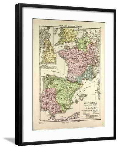Map of Western Europe and the Roman Empire--Framed Art Print