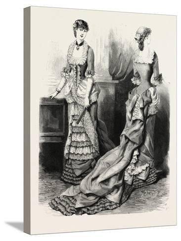 Evening Toilette Front and Back, Fashion, 1882--Stretched Canvas Print
