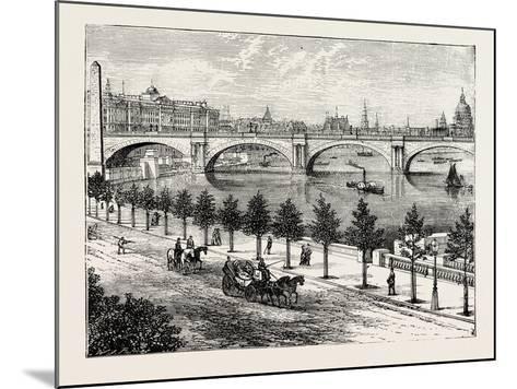The Thames Embankment and Waterloo Bridge 1895--Mounted Giclee Print